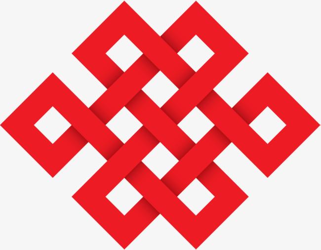 手绘红色方块中国结png素材下载_高清图片png格式(:)