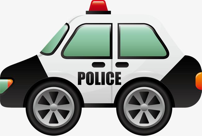 手绘白色汽车警车图片