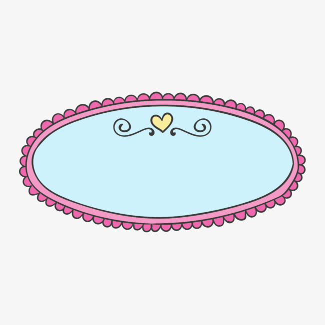 手绘卡通圆形花纹图案框框