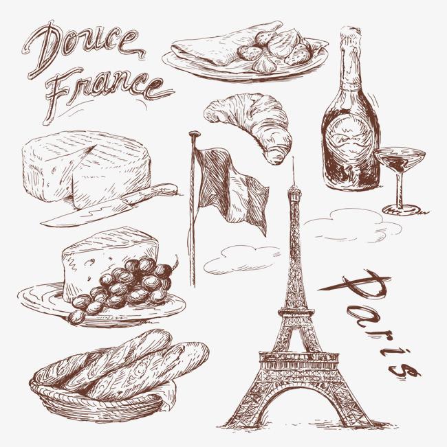 手绘法国美食