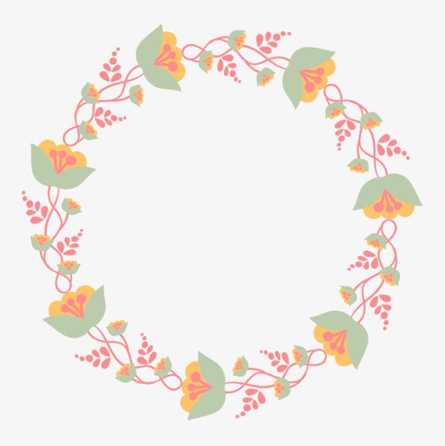手绘水彩小清新花朵装饰花环