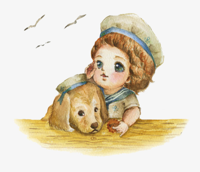 手绘女孩和狗狗