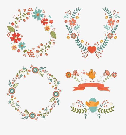 花卉装饰复活节边框图案