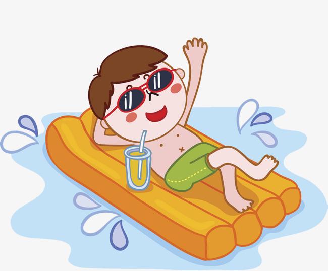 卡通男孩半裸海边躺着享受假期图片