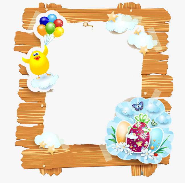 可爱彩蛋装饰复活节边框图案