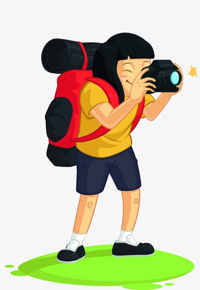 卡通少女相机简笔画png素材下载_高清图片png格式(:)
