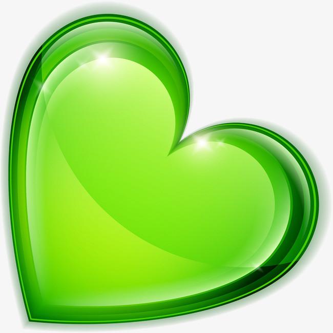 手绘绿色爱心闪光