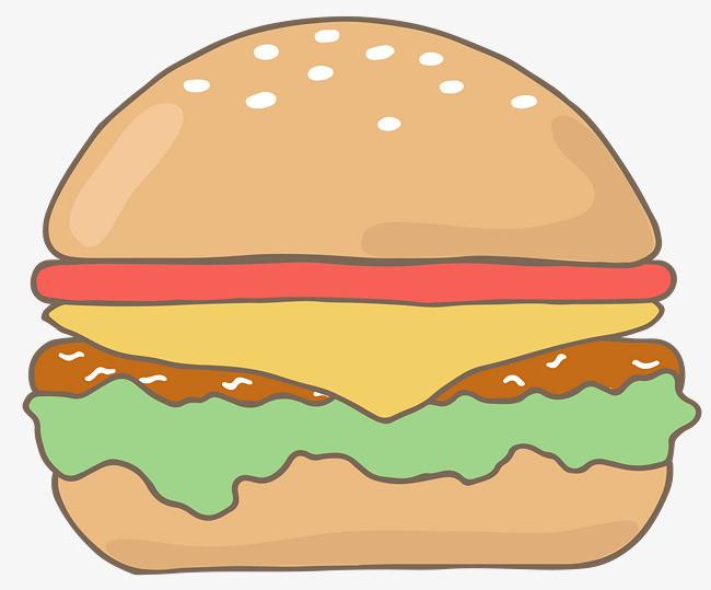 手绘食物汉堡