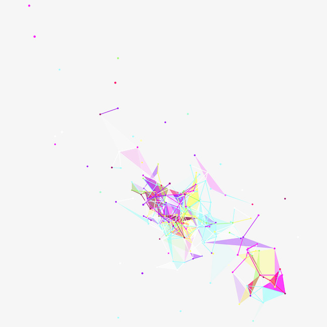 手绘彩色立体三角形图案
