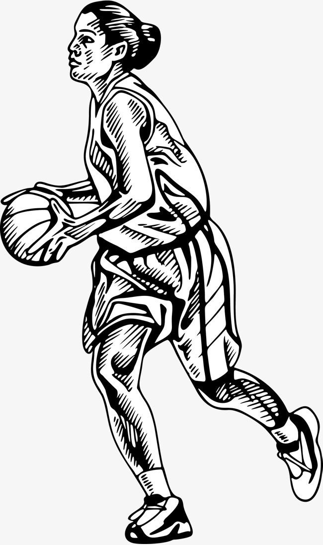 手绘打篮球的女人
