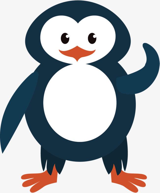 手绘蓝色企鹅