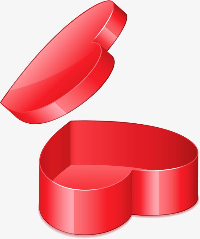 手绘红色爱心盒子