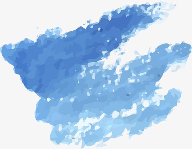 手绘蓝色水彩涂鸦