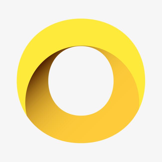 黄色立体字母o