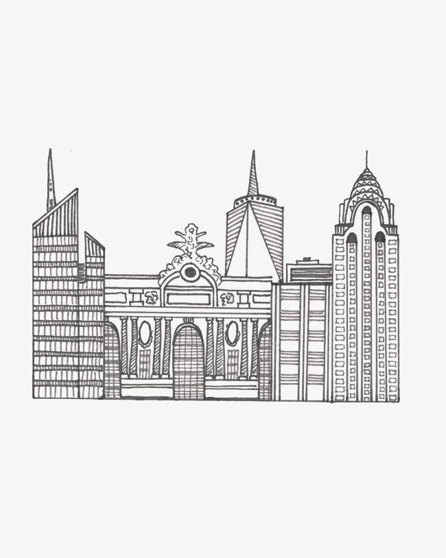 手绘线条城市房子