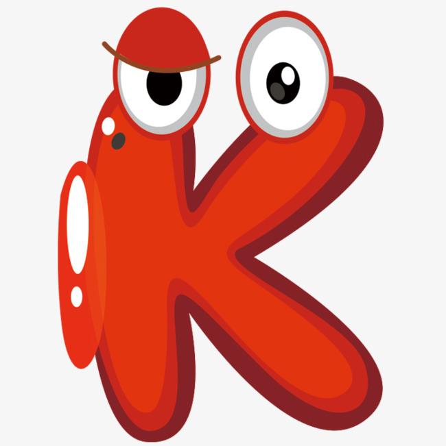 红色卡通字母k图片