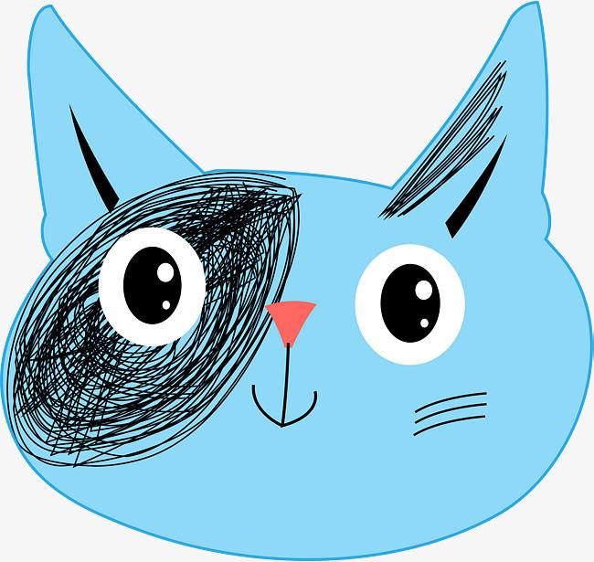 蓝色可爱猫头