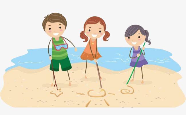 卡通风格海边小孩图案