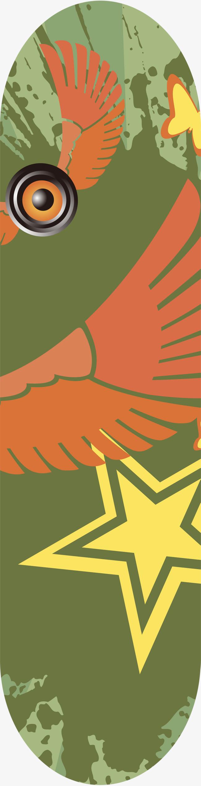 绿色滑板 音响翅膀 卡通图案装饰图案椭圆图案 斑斓花纹免扣素材