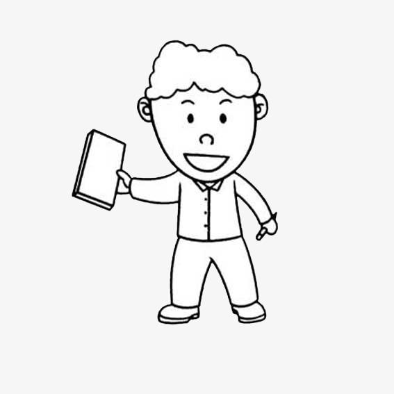 手拿书本和笔的小男孩简笔画素材图片免费下载 高清png 千库网 图片编号8979555