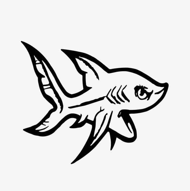 手绘卡通鲨鱼