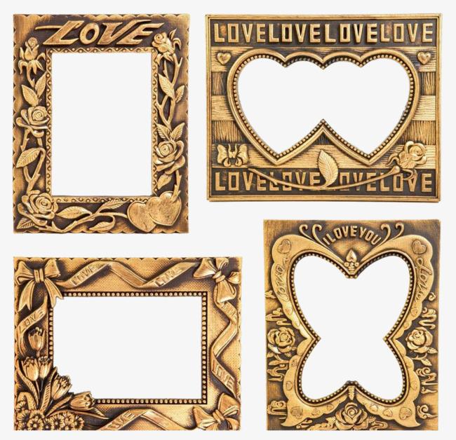 图片 相框边框 > 【png】 四款爱情主题欧式金属相框