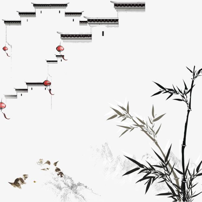 江南水墨竹子园林_png素材免费下载_ 800*800像素(:)