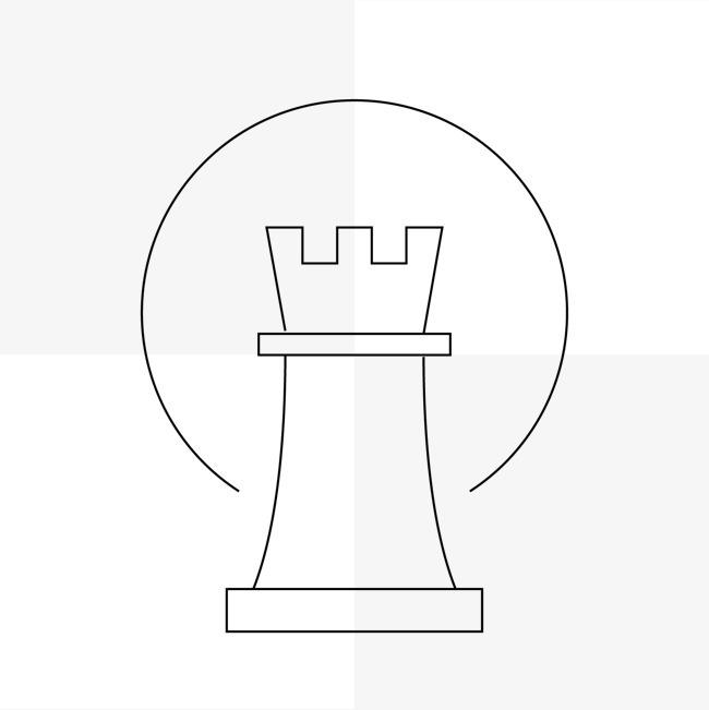手绘线条灯塔图案