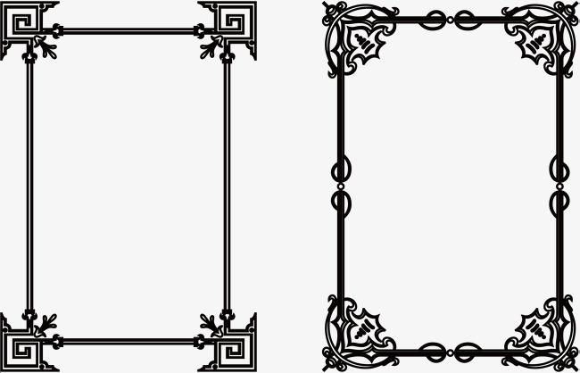 手绘卡通黑线框
