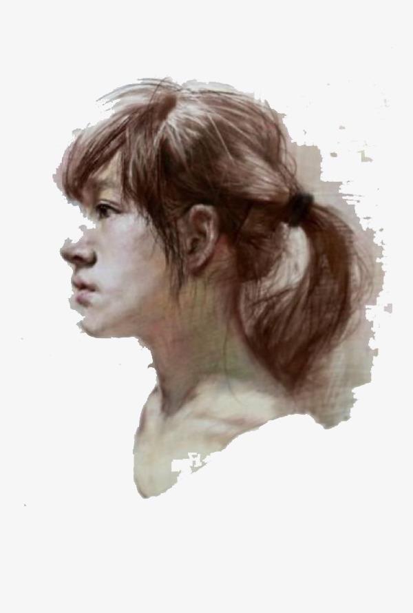 女青年侧面粉笔画