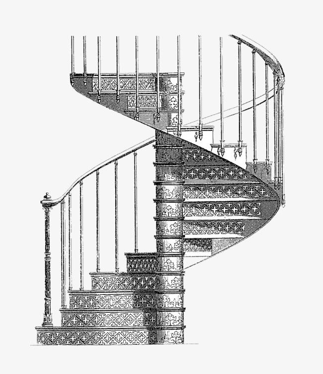 铅笔手绘旋转式楼梯手稿