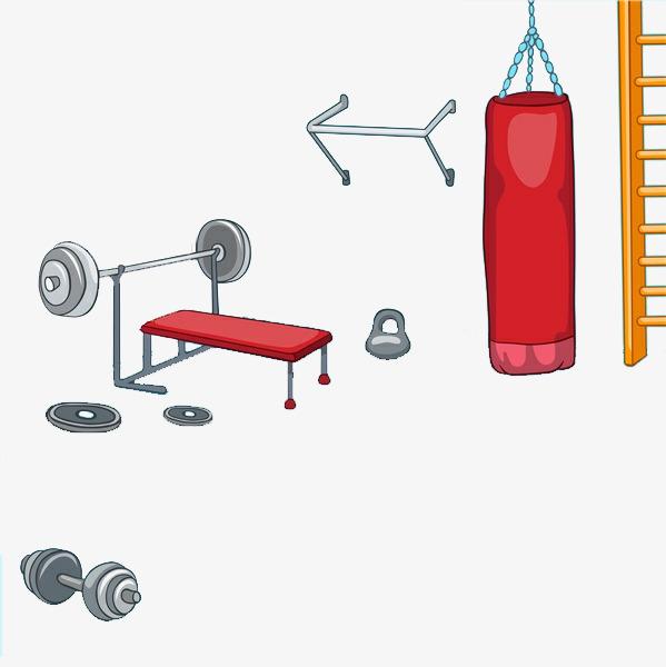 手绘健身房活动室