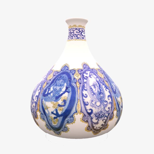 蓝色花纹白色瓶子_png素材免费下载_ 1200*1200像素