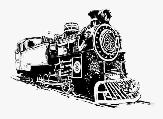 黑白手绘插图老式蒸汽火车