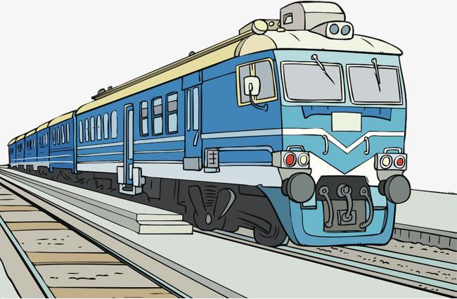 漫画手绘插图蓝色铁皮火车png素材下载_高清图片png