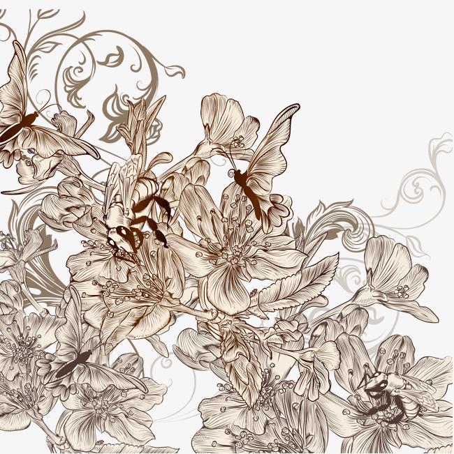 古典淡雅手绘花海设计素材