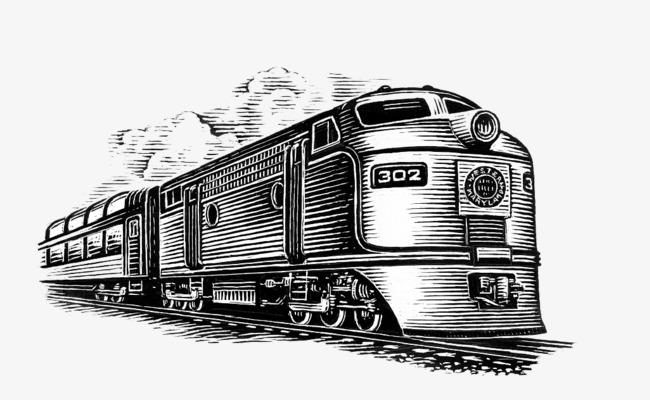 铅笔手绘插图老式铁皮火车