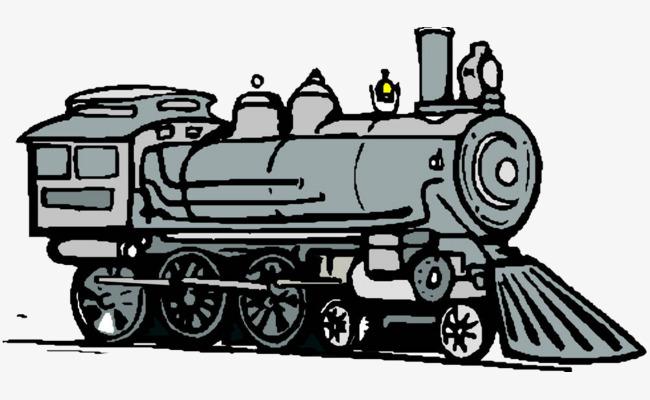 卡通手绘老式蒸汽火车车头