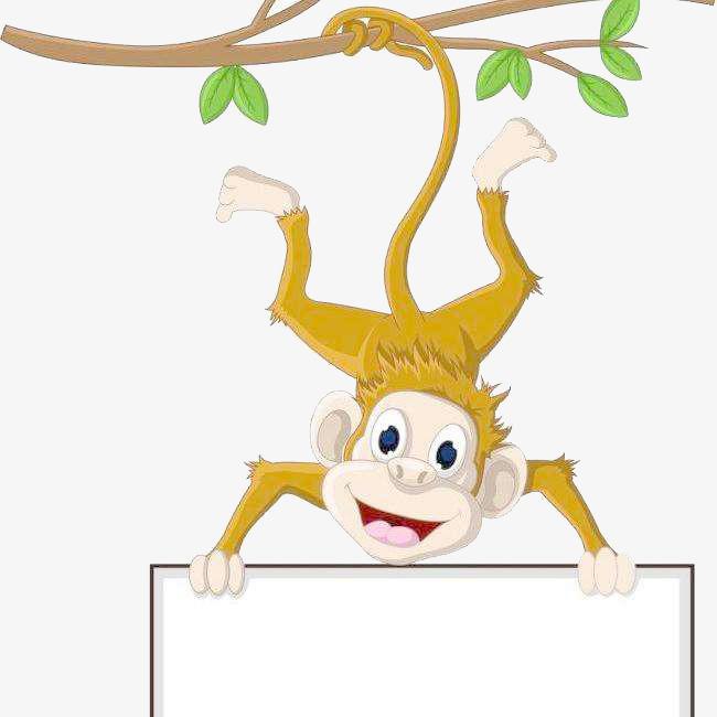 可爱小猴倒挂手拿白板