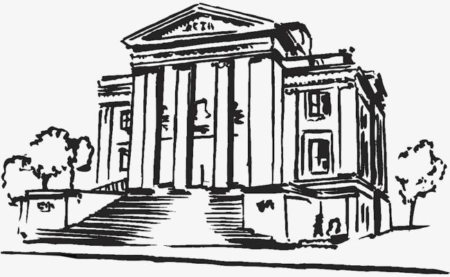 钢笔手绘速写城市建筑银行