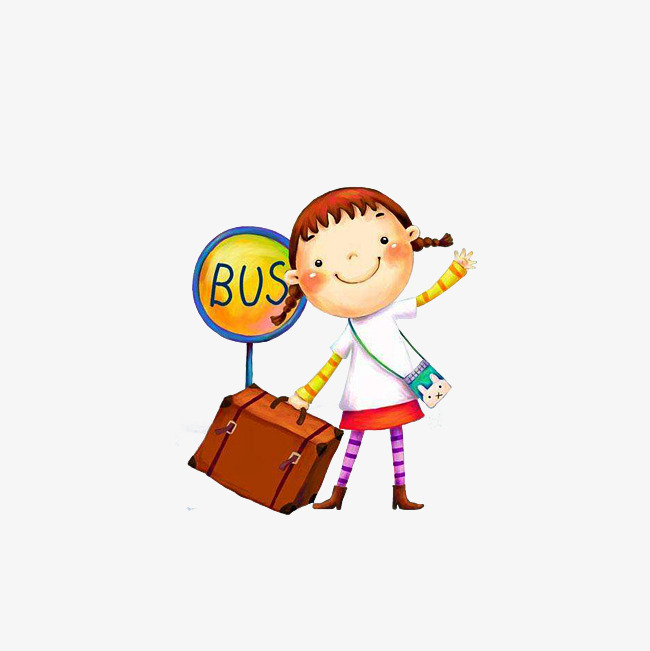 拉行李箱的人 在巴士站拖着行李箱的女孩 卡通手绘png免费下载