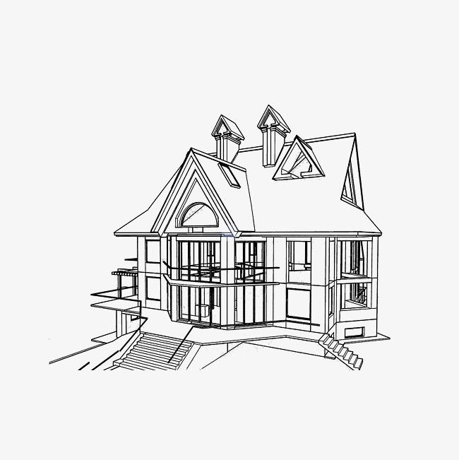 家居简笔画 素描房子 手绘 欧式建筑 线条             此素材是90设