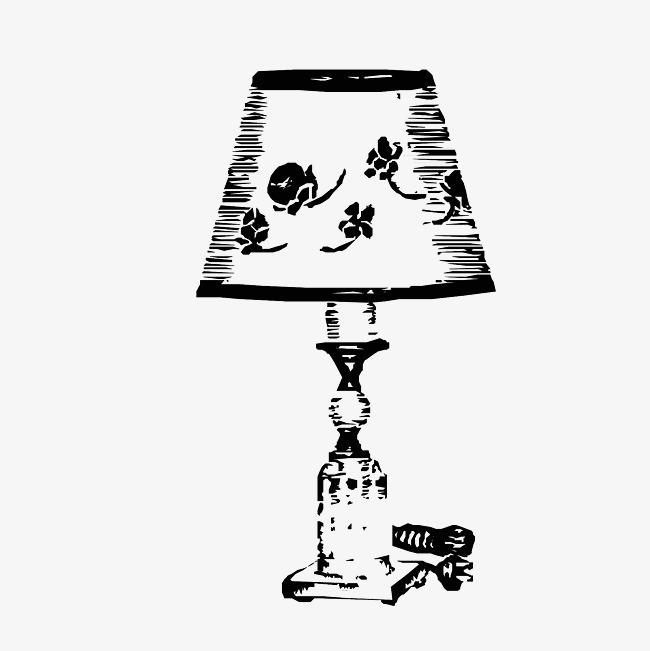 台灯简笔手绘图