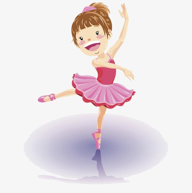 卡通穿粉色礼服表演舞蹈的女孩png素材下载_高清图片图片