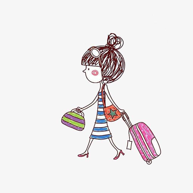 手绘拉行李箱的女孩_png素材免费下载_ 5000*5000像素