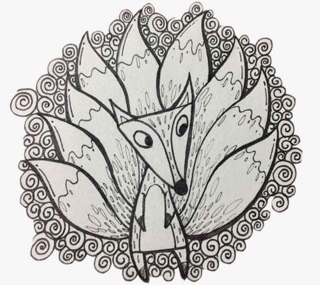 铅笔画九尾狐