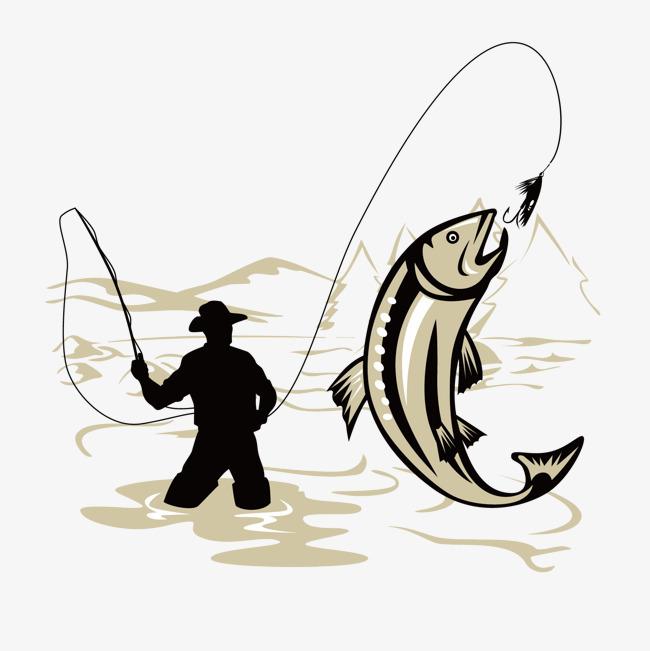 手绘钓鱼元素素材