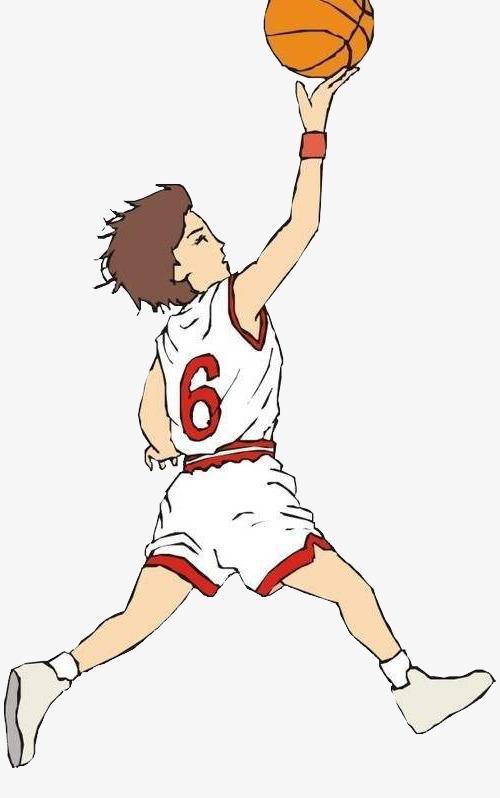 手绘打篮球的男人图案