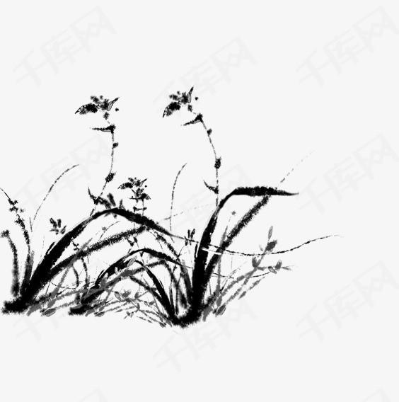 手绘水墨水草素材图片免费下载 高清psd 千库网 图片编号9016524