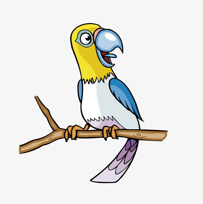 手绘彩色小鸟站在树枝上